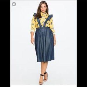 Eloquii chambray skirt w/ ruffle straps